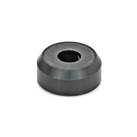 GN 6311.1 Almohadillas de empuje de acero / plástico, para tornillos prisioneros DIN 6332 o para tornillos de apriete en T DIN 6304 / DIN 6306 Tipo: A - Superficie de almohadilla de empuje plana, sin tapón de plástico