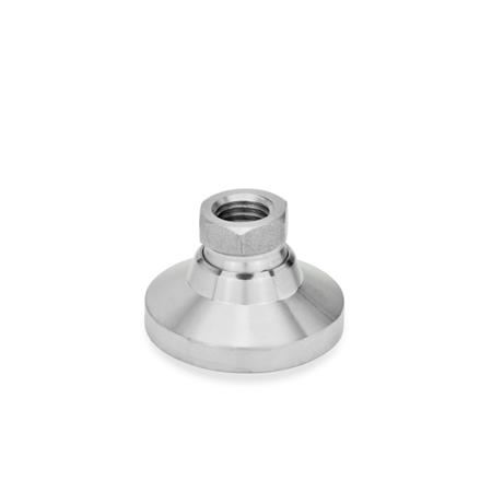 GN 343.5 Tapped Type Stainless Steel Base Leveling Mounts, With or Without Plastic or Rubber Cup Type: OS - Without plastic cap