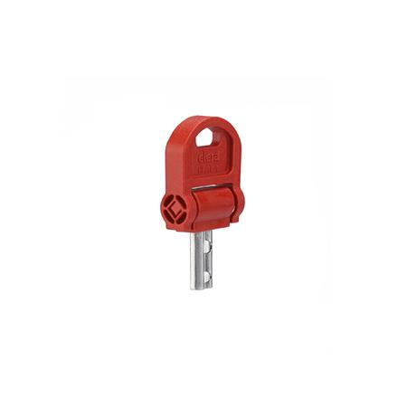 EN 5337.8 Plastic Keys for Safety Five-Lobed Knobs Type: CSN - With key, fold-away