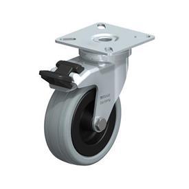 LPA-VPA Rodajas giratorias de acero con ruedas caucho gris de servicio ligero, con placa de montaje, serie de soportes estándar Type: G-FI - Cojinete liso con freno «stop-fix»