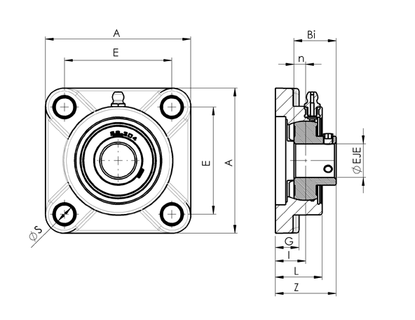 AN 7870.1 Stainless Steel Square Flange Bearing With Through Hole Bearing sketch