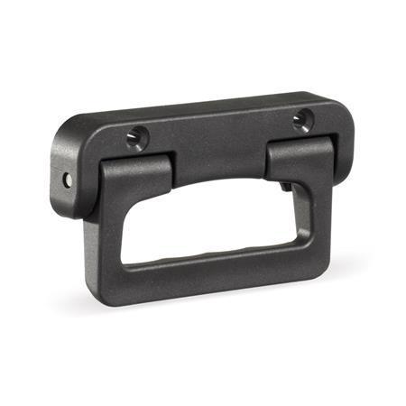 EN 825.1 Technopolymer Plastic Folding Handles, with Spring-Loaded Return Color: SW - Black, RAL 9005, matte finish