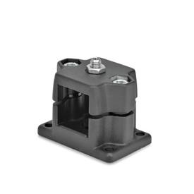 GN 147.7 Aluminum Flanged Connector Clamps, with Locating Option Type: D - With ball plunger<br />Color: SW - Black, RAL 9005, textured finish