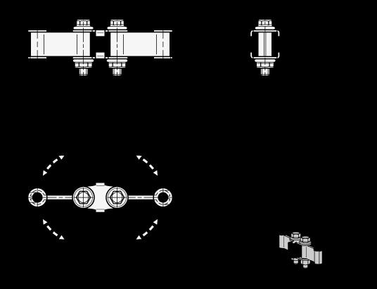 GN 801.2 Alargadores de brazo de fijación de acero, con junta de pivote, para clamps con barra en U boceto