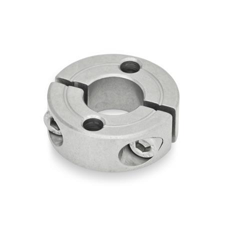 GN 7072.2 Collares de fijación partidos de acero inoxidable, con agujeros de montaje Tipo: A - Con dos agujeros lisos