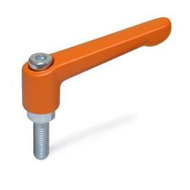 GN 300.2 Manijas ajustables de zinc fundido a presión, tipo espárrago, con componentes de acero zincado Color (acabado): OS - Naranja, RAL 2004, acabado texturizado