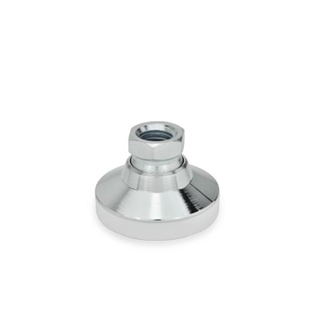 GN 343.1 Steel Leveling Feet, Tapped Socket Type, with or without Plastic / Rubber Cap Type: KS - With plastic cap, gliding