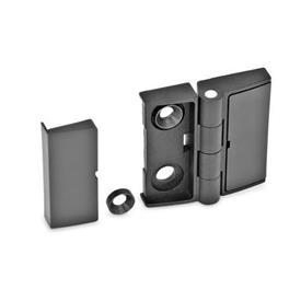 GN 238 Bisagra de alineación ajustable de zinc fundido a presión, con tapones de cubierta Tipo: EJ - Ajustable por un lado<br />Color: SW - Negro, RAL 9005, acabado texturizado