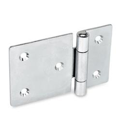GN 136 Steel Sheet Metal Hinges, with Extended Hinge Wing Material: ST - Steel<br />Type: C - With countersunk holes