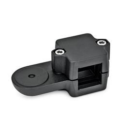 GN 279 Aluminum, Split Assembly, Swivel Clamp Connectors, Round Bore Type  Square s<sub>1</sub>: V 45<br />Finish: SW - Black, RAL 9005, textured finish<br />Identification no.: 2 - with 2 Stainless Steel-clamping screws DIN 912<br />Type: OZ - without centring step (smooth)