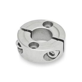 GN 7072.2 Collares de fijación partidos de acero inoxidable, con agujeros de montaje Tipo: B - Con dos agujeros avellanados para tornilos de cabeza hueca