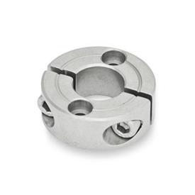 GN 7072.2 Stainless Steel Split Shaft Collars, with Mounting Holes Type: B - With two countersunk holes for socket cap screws