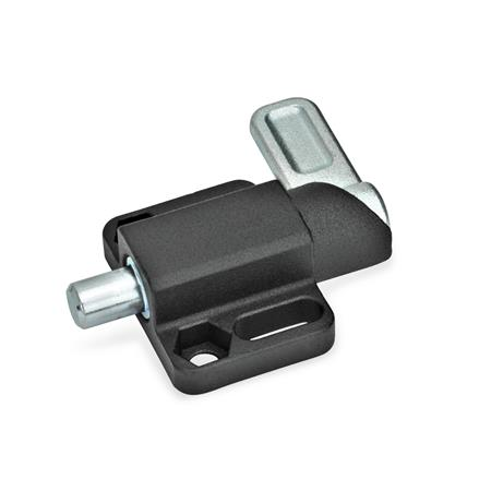 GN 722.3 Steel Square Cam Action Spring Latches, Lock-Out, with Mounting Flange Finish: SW - Black, textured finish Type: R - Right indexing cam