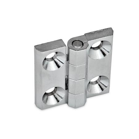 GN 237 Zinc Die-Cast or Aluminum Hinges, Countersunk Thru Holes or Threaded Stud Type Material: ZD - Zinc die-cast Type: A - 2x2 bores for countersunk screws Finish: CR - Chrome plated finish