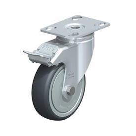 LKPA-TPA Rodajas giratorias de acero de servicio ligero, con ruedas de caucho termoplástico y soportes pesados Type: K-FI-FK