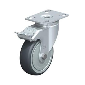 LKPA-TPA Steel Light Duty Swivel Casters, with Thermoplastic Rubber Wheels and Heavy Brackets Type: K-FI-FK - Ball Bearing with Stop-Fix Brake, with Thread Guard