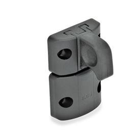 EN 449 Technopolymer Plastic Snap Door Locks Type: B - Snap lock, with hook latch, with finger handle<br />Color: SW - Black, matte finish