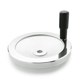 GN 321 Volantes de disco sólidos, aluminio, con o sin empuñadura giratoria Código del orificio: B - Sin ranura<br />Tipo: R - con mango giratorio