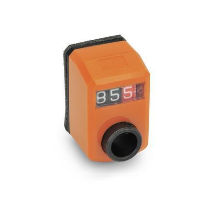 EN 955 Indicadores de posición digitales de plástico tecnopolímero, pantalla de 3 dígitos Instalación (vista anterior): FN - En el frente, arriba Color: OR - Naranja, RAL 2004