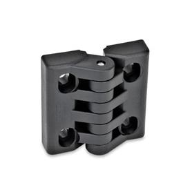 EN 151.4 Bisagras de tecnopolimero plástico, ajustable, con agujeros ranurados  Tipo: H - Ranuras verticales