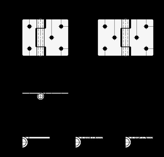 GN 136 Bisagras de chapa metálica de acero, con orificios para tornillos de cabeza cilíndrica o tornillos avellanados boceto