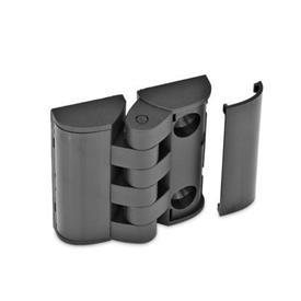 EN 151.3 Bisagras de plástico tecnopolímero, con orificios de montaje para tornillos avellanados y placas de cubierta Tipo: SH - 2x2 orificios para tornillos avellanados