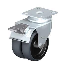 LDA-TPA Rodajas giratorias de acero con ruedas gemelas de servicio ligero, con placa de montaje, serie de soportes estándar Type: G-FI - Cojinete liso con freno «stop-fix»