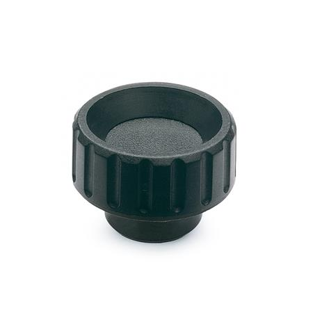 EN 590.5 Technopolymer Plastic Knurled Nuts, with Stainless Steel Tapped Insert Type: E - With tapped blind bore