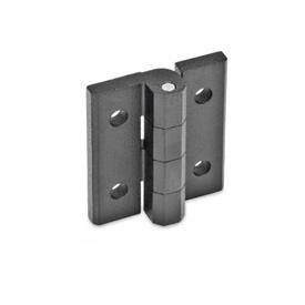 GN 235 Zinc Die-Cast Hinges, Adjustable Material: ZD - Zinc die-cast<br />Type: D - With through holes<br />Finish: SW - Black, RAL 9005, textured finish