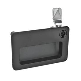 GN 115.10 Zinc Die-Cast Cam Latches, with Gripping Tray, Operation with Socket Key Type: VDE - Operation with double bit<br />Color: SW - Black, RAL 9005, textured finish<br />Identification no.: 2 - Operation in the illustrated position top right