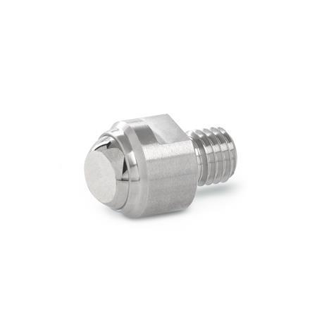 GN 709.15 Almohadillas de sujeción de acero inoxidable, con vástago roscado Tipo: B - Cara de contacto plano