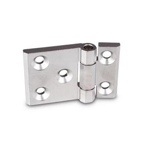 GN 237.3 Stainless Steel Heavy Duty Hinges, with Extended Hinge Wing Material: NI - Stainless steel<br />Type: A - With bores for countersunk screws<br />Finish: GS - Matte shot-blasted finish