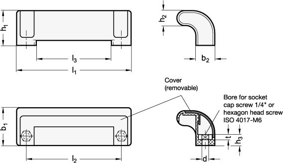 EN 630.2 Technopolymer Plastic Ergostyle® Guard Safety Handles, with Counterbored Through Holes sketch