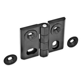 GN 127 Zinc Die-Cast Adjustable Alignment Hinges, With Alignment Bushings Type: HB - Horizontal and vertical slots