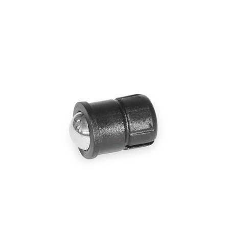 GN 614.5 Posicionadores de bola por presión cortos de plástico Material: KU - Plástico