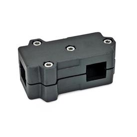 GN 193 Aluminum, Split Assembly, T-Angle Connector Clamps Square s<sub>1</sub>: V 40<br />Finish: SW - Black, RAL 9005, textured finish<br />Identification No.: 2 - with 4 Stainless Steel-clamping screws DIN 912