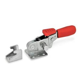 GN 851.3 Stainless Steel Horizontal Latch Type Toggle Clamps, with Horizontal Mounting Base and Clamping Arm, with Safety Hook Type: T - Without U-bolt latch, with catch<br />Material: A4 - Stainless steel