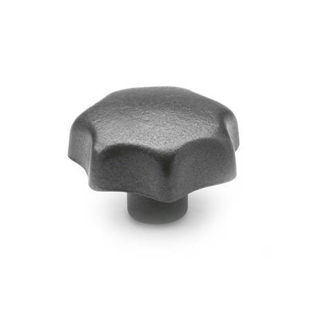 DIN 6336 Perillas de estrella de hierro fundido, con orificio roscado o liso Tipo: C - Con orificio ciego liso, tol. H7