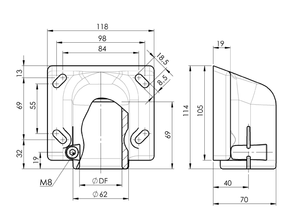 AN 210 Side Mount Brackets sketch