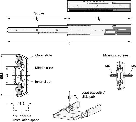 GN 1424 Guías telescópicas de acero, con extensión completa y mecanismo auto-abatible amortiguado, capacidad de carga de hasta 169 lbf boceto