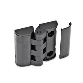 EN 151.3 Bisagras de plástico tecnopolímero, con orificios de montaje para tornillos avellanados y placas de cubierta Tipo: EH - 2x2 agujeros para tornillos de cabeza hueca DIN 912-M5 / Tornillos hexagonales ISO 4014-M5/M6