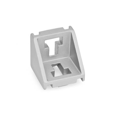 GN 960 Aluminum, Angle Brackets, For 30/40/45 mm Aluminum Profile Systems Type of angle piece: A - without assembly set, without cover Finish: MT - Matte shot-blasted finish