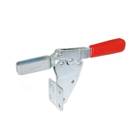 GN 820.2 Steel Horizontal Acting Toggle Clamps, with Vertical Mounting Base Type: MF - U bar version, with two flanged washers