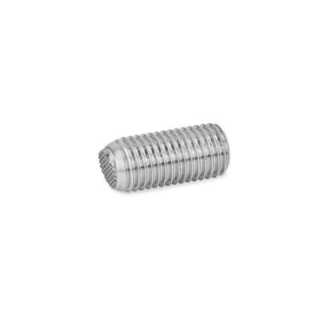 GN 605 Stainless Steel Socket Set Screws, with Full / Flat / Serrated Ball Point End Type: VRN - Flat ball, with swivel limiting stop, serrated
