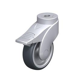 LWG-TPA Nylon Plastic WAVE Synthetic Swivel Casters, with Thermoplastic Rubber Wheels and Bolt Hole Fitting, Steel Components Type: G-FI - Plain Bearing with Stop-Fix Brake