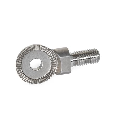 GN 187.5 Stainless Steel Serrated Locking Plates, Stud / Flange / Plate Type Type: C - Threaded stud
