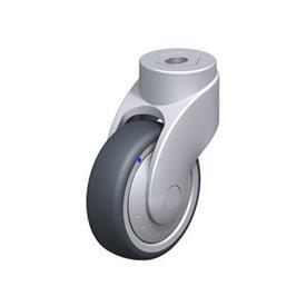 LWGX-TPA Rodajas giratorias de nylon plastificado sintético WAVE, con ruedas de caucho termoplástico y ajuste con agujero para perno, componentes de acero inoxidable Type: XK-FK