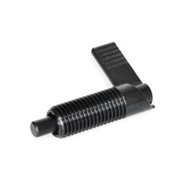GN 721 Steel Cam Action Indexing Plungers, Non Lock-Out, with 180° Limit Stop Type: RA - Right hand limit stop