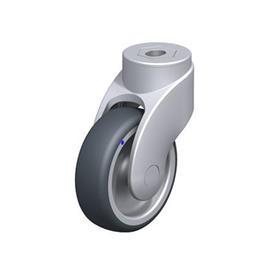LWGX-TPA Rodajas giratorias de nylon plastificado sintético WAVE, con ruedas de caucho termoplástico y ajuste con agujero para perno, componentes de acero inoxidable Type: G - Cojinete liso