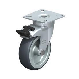 LPA-TPA Rodajas giratorias de acero de servicio ligero, con ruedas de caucho termoplástico y placa de montaje, serie de soportes estándar Type: G-FI - Cojinete liso con freno «stop-fix»